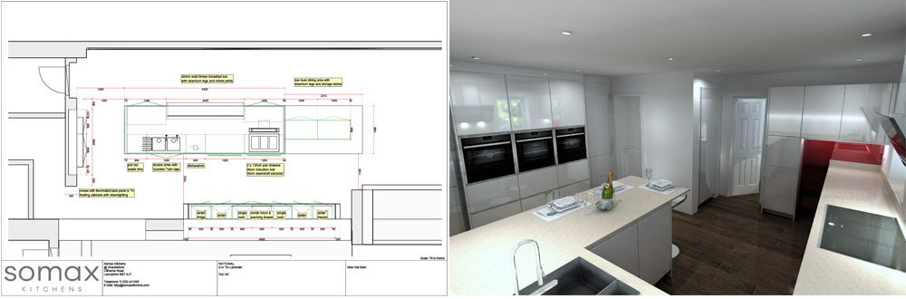 kitchen plan and 3D render
